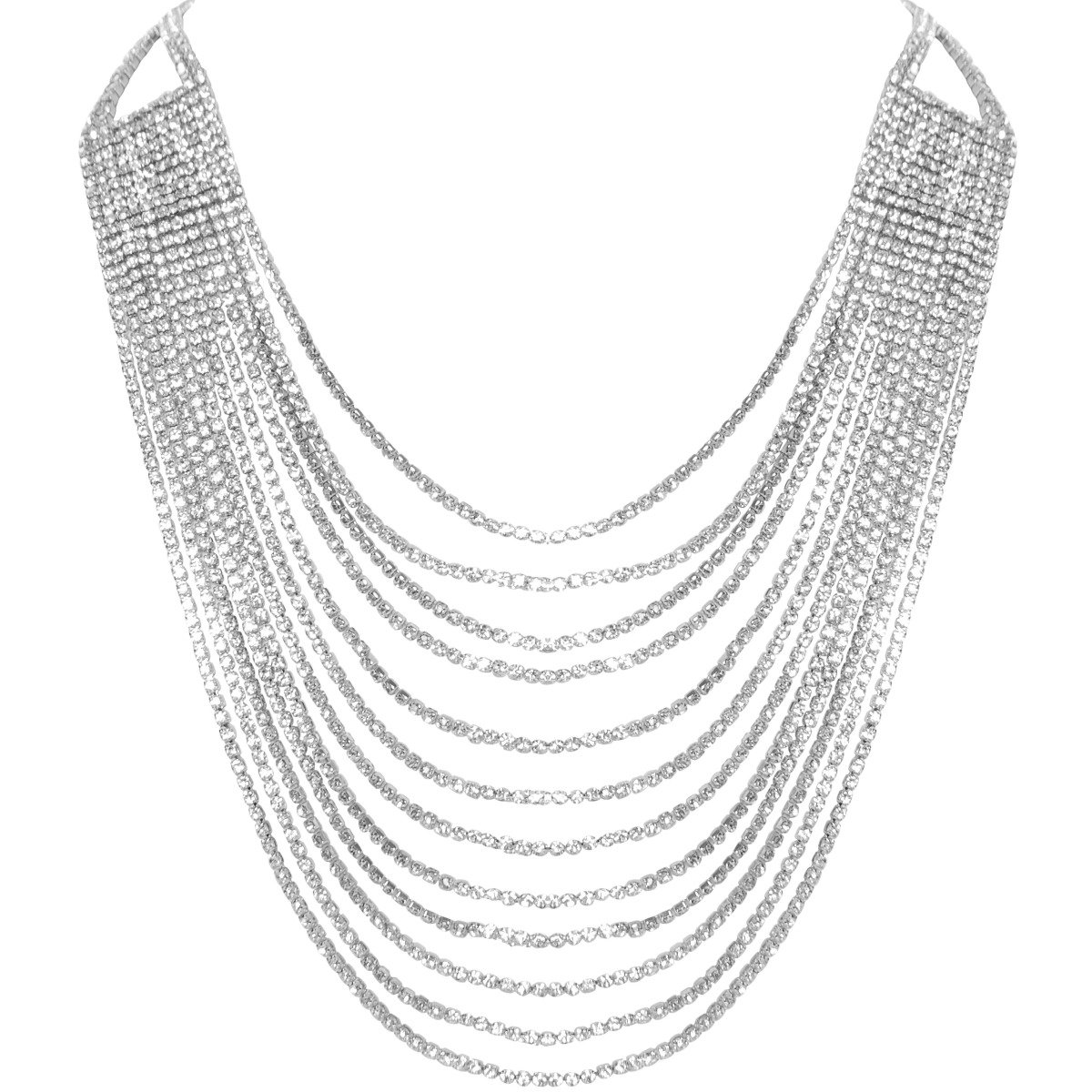 Humble Chic Darling Waterfall Bib Necklace Multi-Strand Chain CZ Simulated Diamond Collar, Silver-Tone