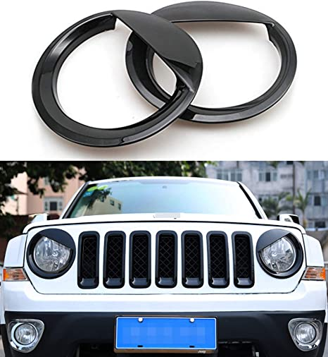 Black ABS Car Front Head Light Lamp Eyelid Cover Trim for Jeep Compass 2011-2016