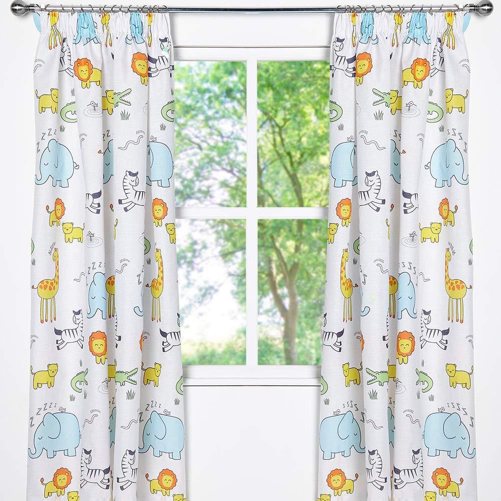 54 inch Drop Zappi Co Safari Animal Design Bedding Childrens Boys Girls Toddler Zoo Print Bedroom Curtains