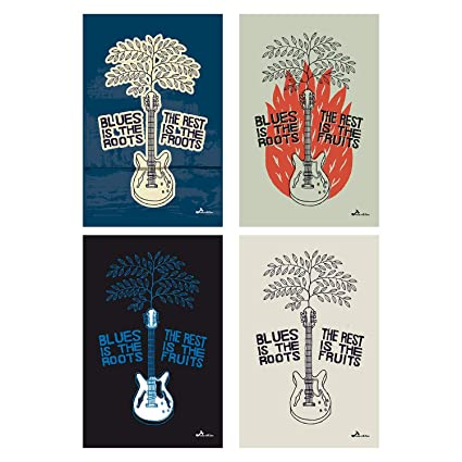 Amazon com: Guitar Poster Set Of 4 Pictures | Classic Rock