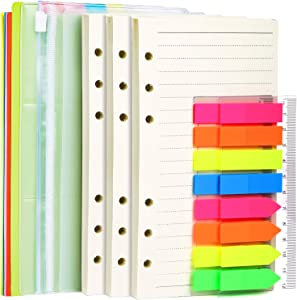 A6 Refill Paper, 3 Pack 45PCS A6 Loose Leaf Paper, 2 Pack 160PCS Neon Page Markers, 6PCS Binder Dividers, 2 PCS Binder Pockets, 6 Hole Notebook Refills for 6 Ring Refillable A6 Binder Notebook Planner