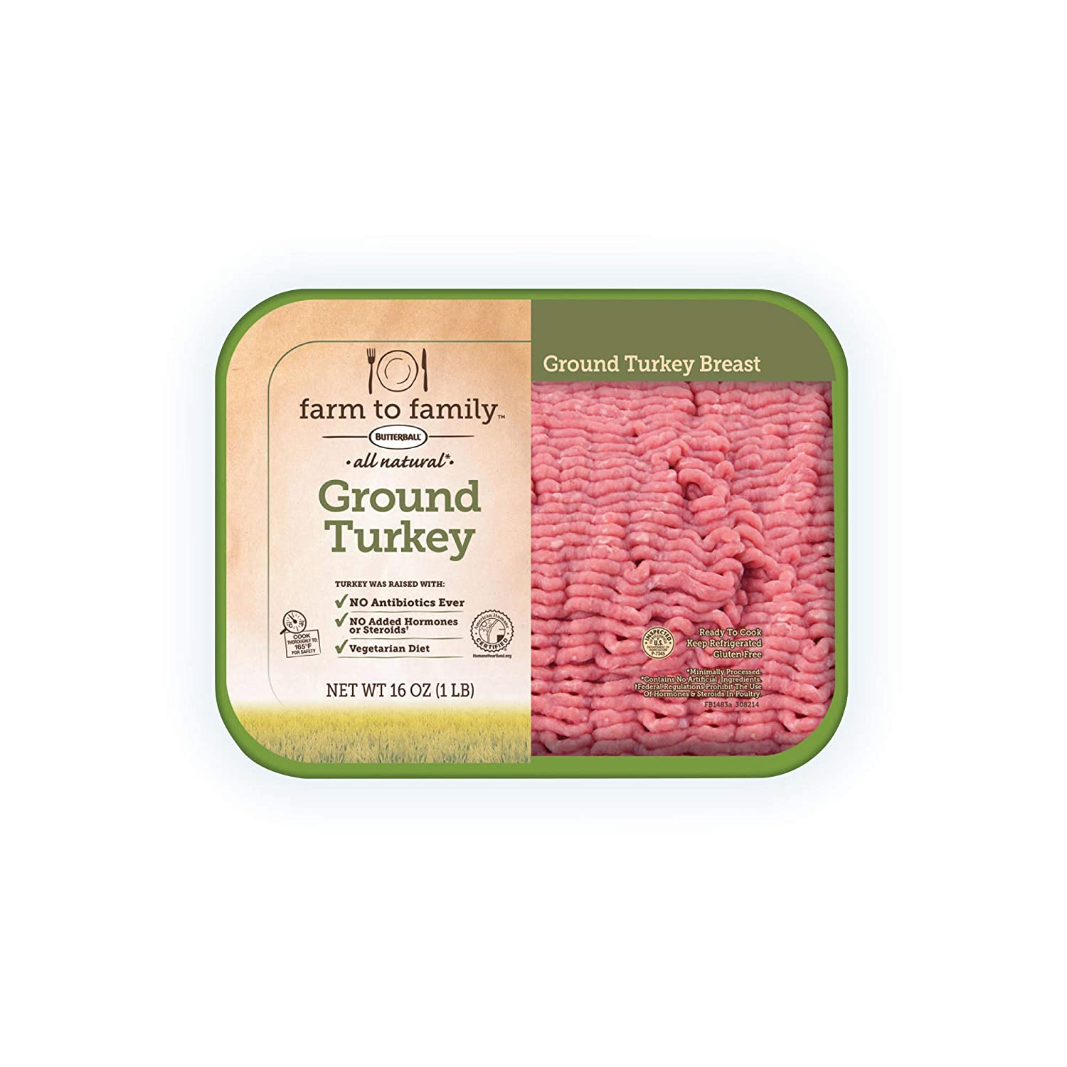 Farm to Family by Butterball Fresh 98% Fat Free Ground Turkey, No Antibiotics Ever, 1 lb.