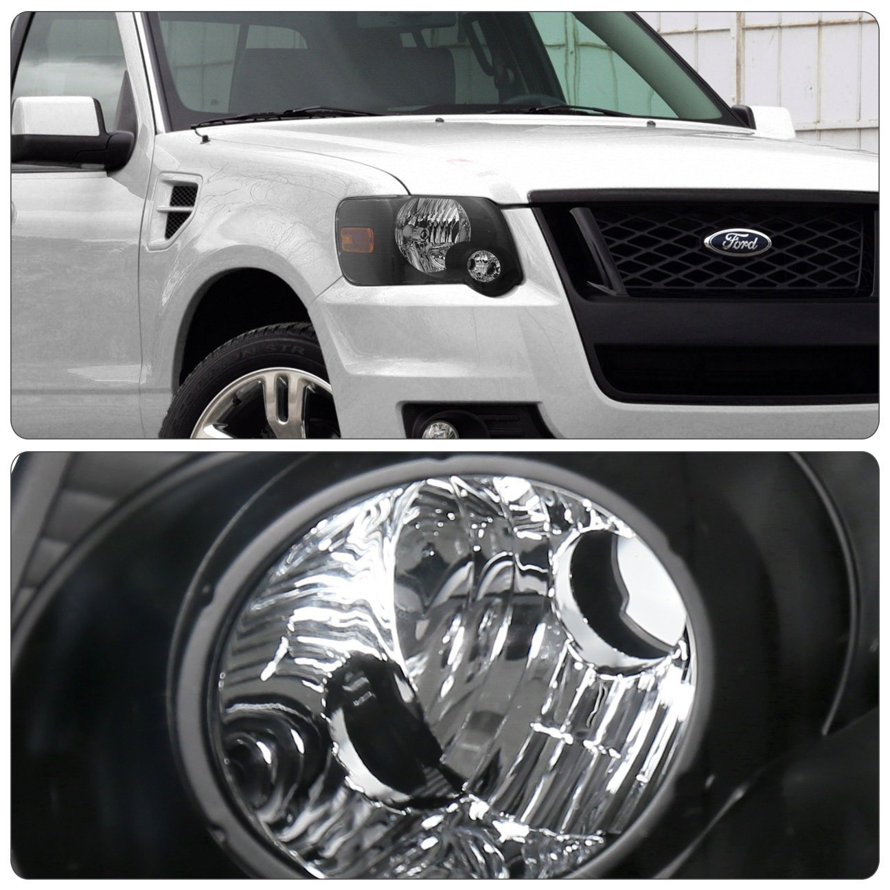 Fits Ford Explorer Sport Trac Front Driving Black Housing Amber Reflector Headlight Head Lamp Upgrade Replacement by AJP Distributors (Image #2)