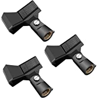 Neewer 3 Packs Microphone Clip Clamp Holder for Mic Stand with 5/8 inch Screw and Microphone Within 22MM-35MM Diameter Such as Sm57 Sm58 Sm86 Sm87 (Black)