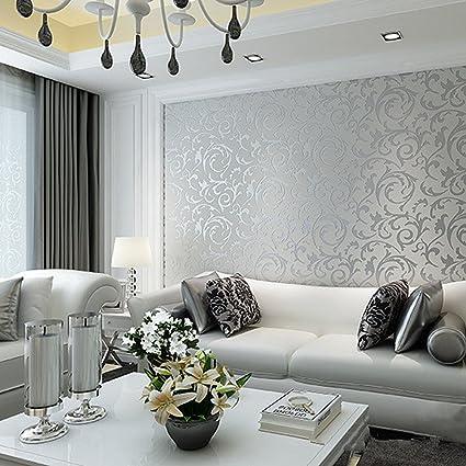 Europa HANMERO carta da parati Damascata PVC della Relief per camera da  letto, soggiorno, Hotel, grigio argentato, 10m*0.53m