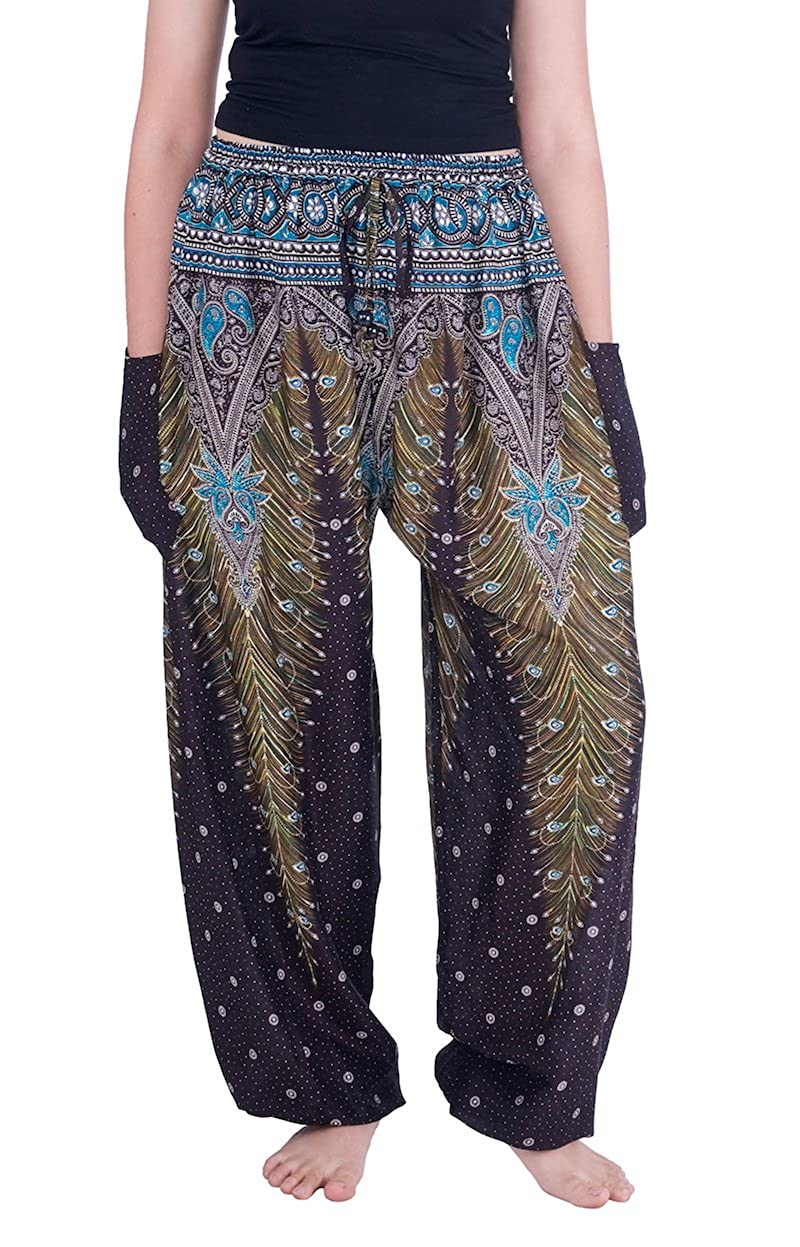 Lannaclothesdesign Women's Boho Yoga Peacock Drawstring Thai Harem Pants YPPE9886DR