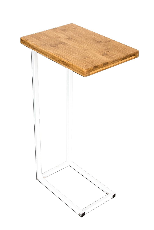 bonvivo® Garde–Mesa de centro Donna, mesa auxiliar en moderno de acero inoxidable madera natural Combinación con estructura de acero en color blanco Bonstato GmbH
