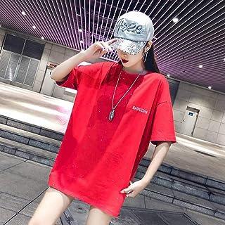 O&YQ Grande Maglietta Femminile a Maniche Corte Estate Sciolto Lungo Top Lucido, Rosso, l