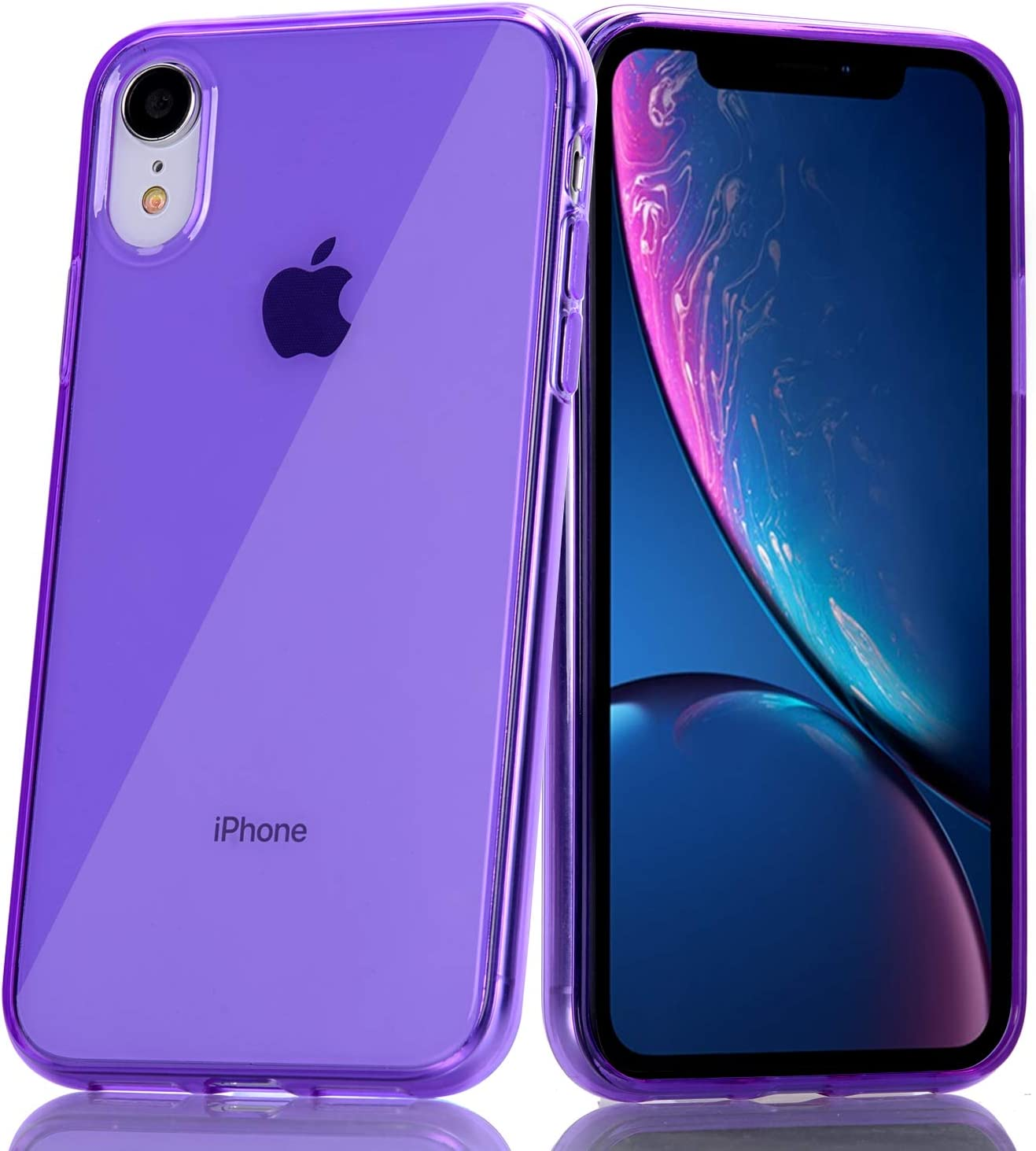 BAISRKE Clear Case for iPhone XR, Slim Fit Soft Flexible TPU Gel Silicone Glossy Rubber Bumper Compatible with iPhone XR [Purple]