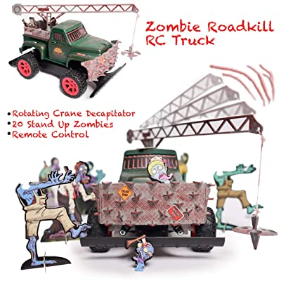 Zombie Roadkill Escape – 360 Crane Decapitator Tow Truck, Zombie Toy, Revolving Crane, Stand Up Zombies, Front Grill Impaler, Full Function Remote Radio Control, Gift for Adults & Kids, 2.4 Ghz: Toys & Games