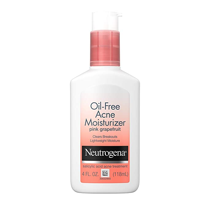 Neutrogena Oil Free Acne Facial Moisturizer With 5 Salicylic Acid Acne Treatment Pink Grapefruit Acne Fighting Face Lotion For Breakouts Non Greasy Non Comedogenic 4 Fl Oz Beauty