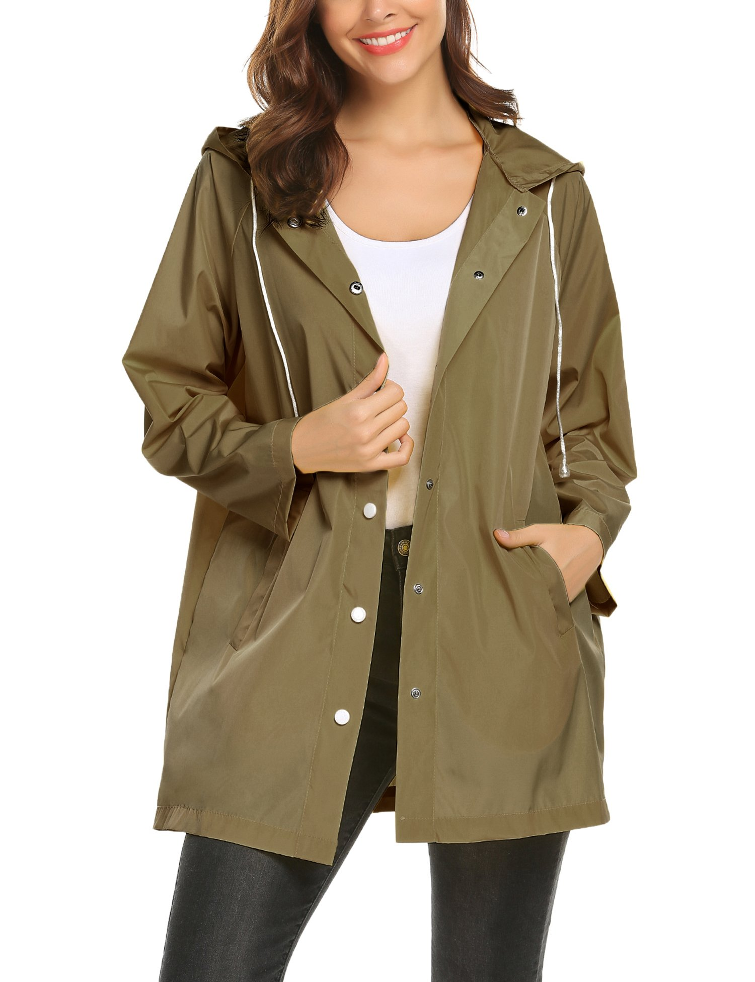 ZHENWEI Rain Jacket Women Light Cool Summer,Long Trench Raincoat Outfit (Army Green,XXL)