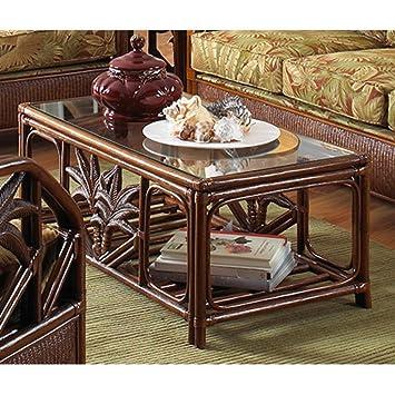 cancun palm rattan u0026 wicker coffee table w glass