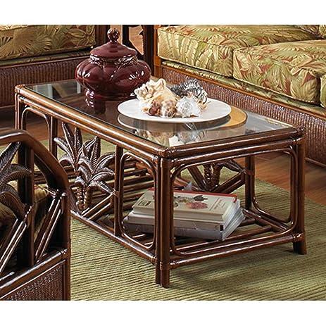 Amazoncom Cancun Palm Rattan Wicker Coffee Table w Glass