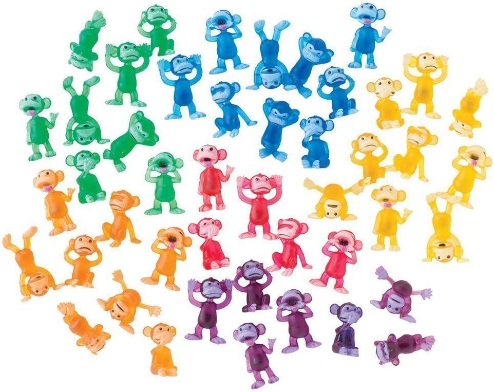 100 Monkey Figures Tiny Plastic Monkey Figures Bulk Bag 100 Party Favors by A/&A