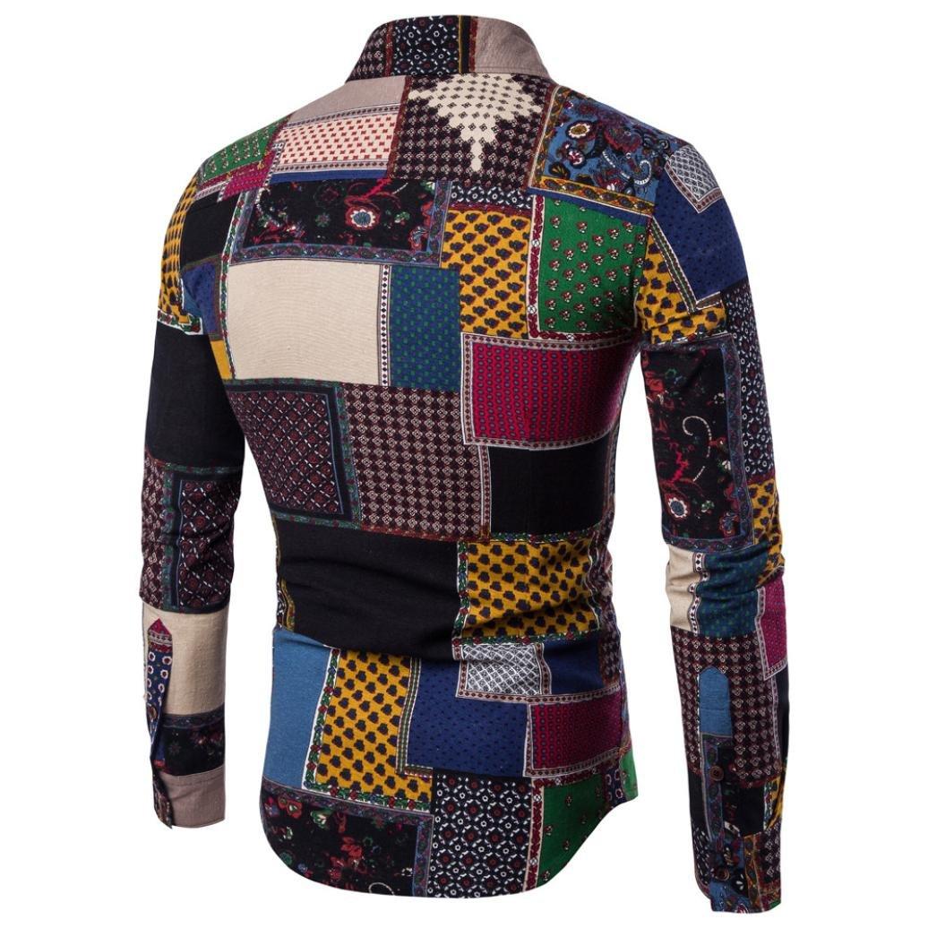Men's Long Sleeve Fashion Print Slim Fit Button Down Dress Shirt-[For Hawaiian  Beach Aloha Party Holiday]: Amazon.co.uk: Clothing