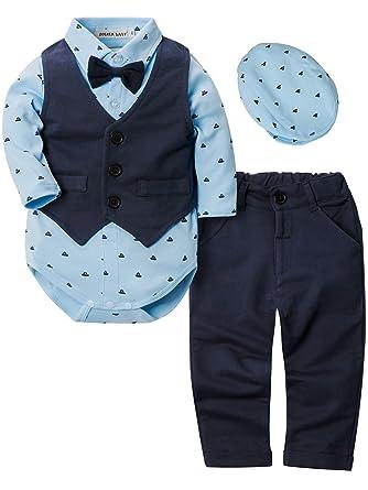 33cc02a44 ZOEREA 4pcs Ropa Bebe niño Conjuntos Camisas de Manga Larga + Chaleco +  Pantalones + Boina
