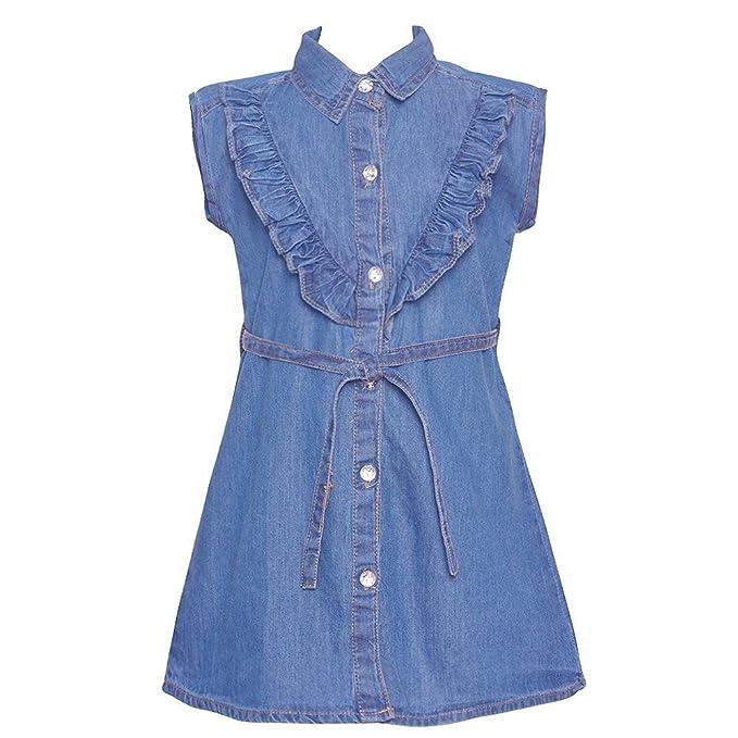 1c3ff0cbdae Little Girls Blue Ruffle Trim Belted Shirt Style Vintage Denim Dress ...