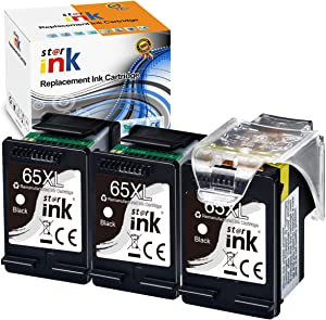 St@r Ink Remanufactured Ink Cartridge Replacement for HP 65XL 65 XL Black Work with DeskJet 3723 3758 2652 2624 3755 2655 3720 3722 3752 Envy 5055 5052 5058 amp 100 120 125 Printer, 3PK
