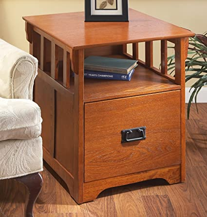 Etonnant Mission   Style End Table / File Cabinet