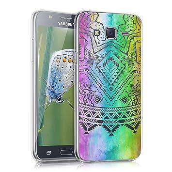 kwmobile Funda compatible con Samsung Galaxy J5 (2015) - Carcasa de [TPU] y diseño de sol azteca en [multicolor / rosa fucsia / transparente]