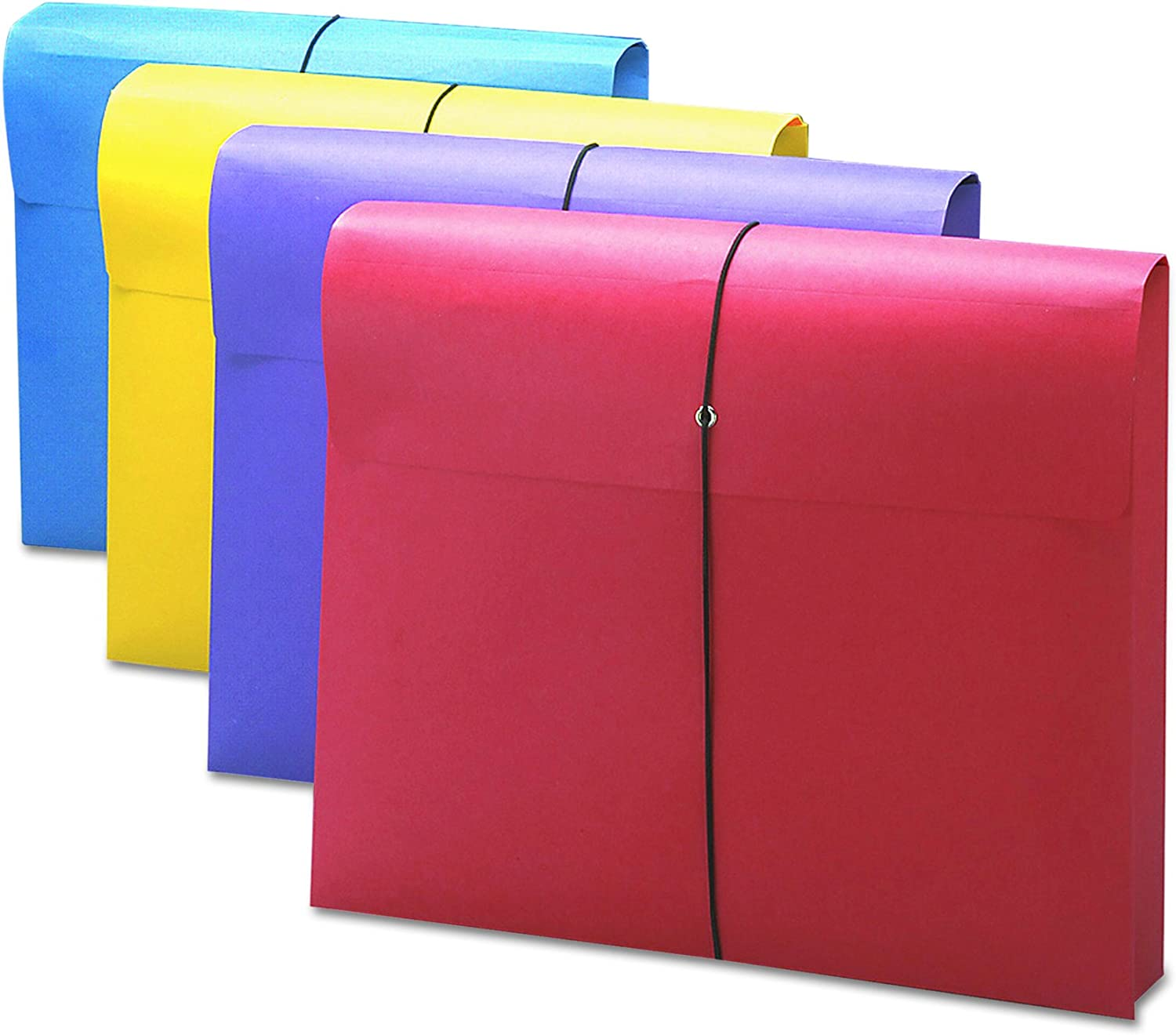 """Smead Expanding File Wallet with Antimicrobial Product Protection,Closure, 2"""" Expansion,Closure, Letter Size, Assorted Colors, 4 per Pack (77291)"""