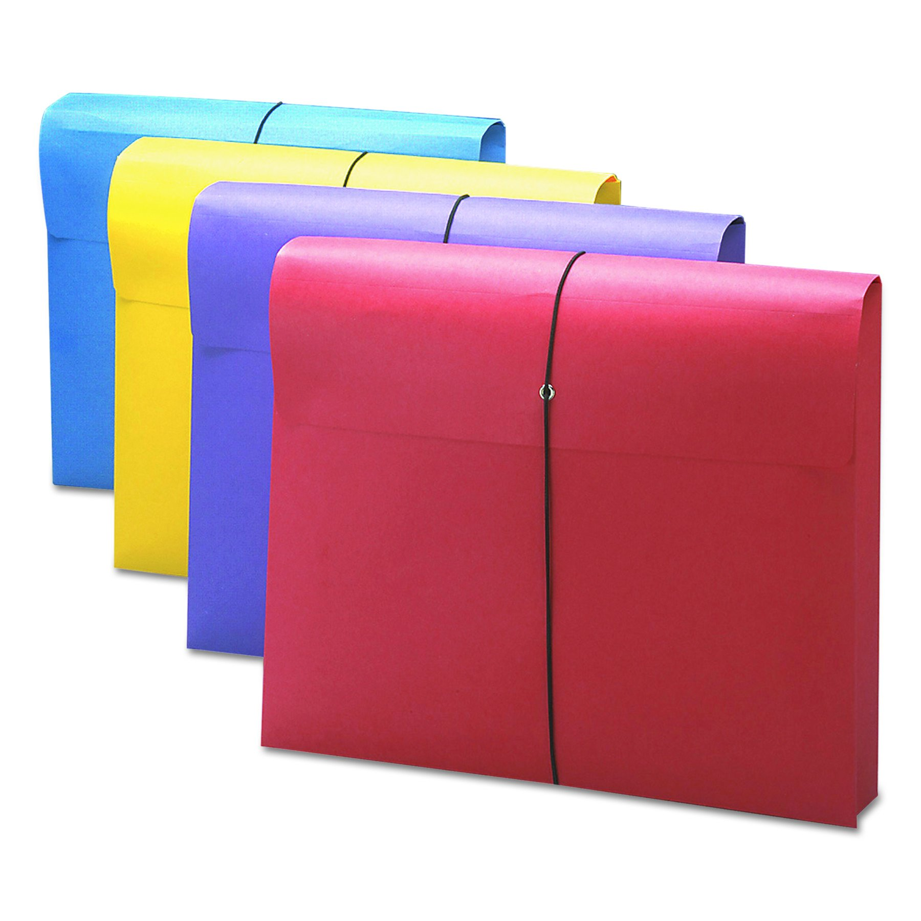 Smead 77291 2'' Exp Antimicrobial File Wallet, Letter, Four Colors (Pack of 4)