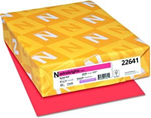 """Neenah Astrobrights Color Paper, 8.5""""x11"""", 89gsm, Rocket Red, 500 Sheets (22641), 24lb Colored Paper"""