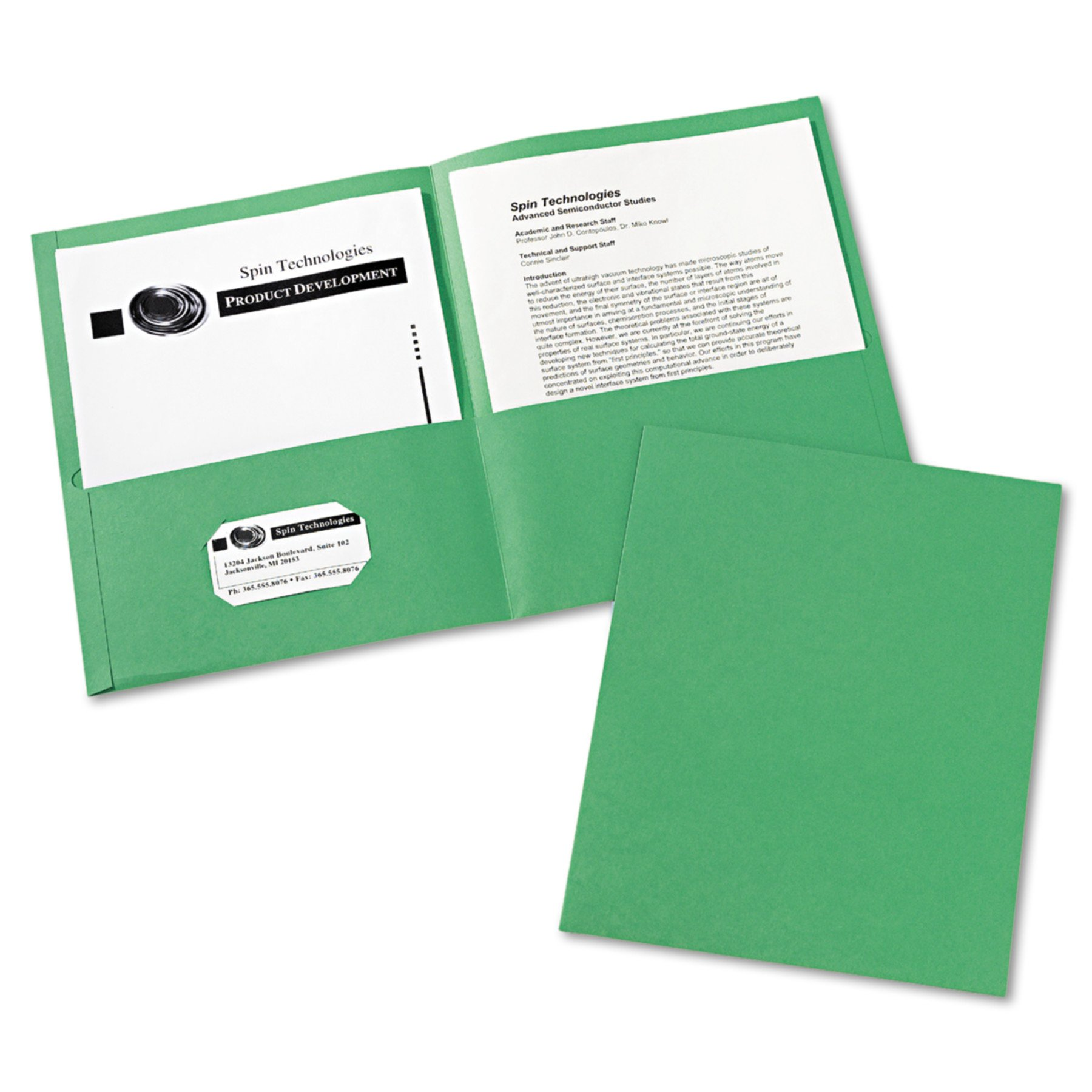 Avery 47987 Two-Pocket Folder, 40-Sheet Capacity, Green (Box of 25)