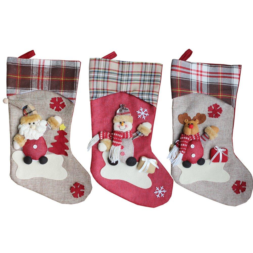 3 Pezzi Calza di Babbo Natale Renna Calza Sacchetto Regalo Decorazione per Albero Ornamento di Natale per Decorazioni Natalizie OldPAPA Calze di Natale