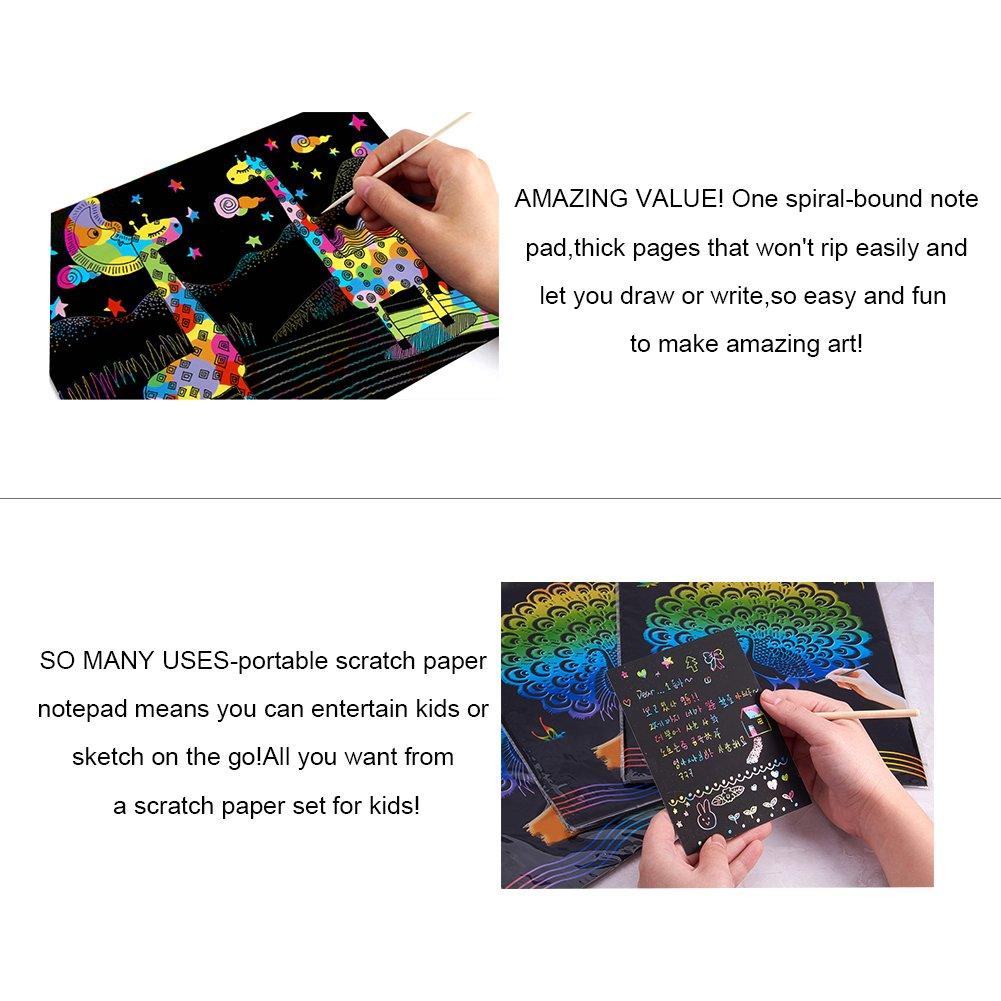 NBEADS 30 Hojas de Papel Negro para rayar ni/ñas para Hacer Arte Divertido 11.7 x 8.3 Pulgadas 4 l/ápices de bamb/ú arco/íris para ni/ños