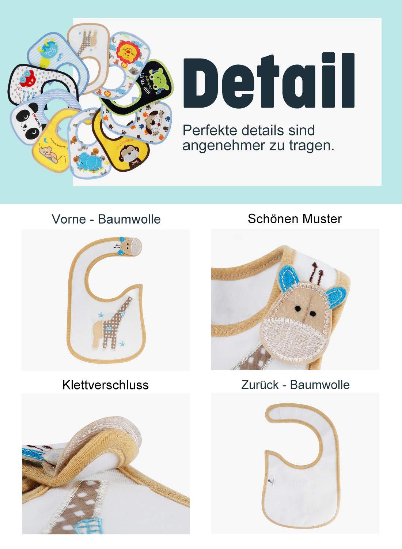 FUTURE FOUNDER Baby Lätzchen Wasserdicht Weich 10er Halstücher aus Baumwolle mit Klettverschluss für Baby Jungen Kleinkinder