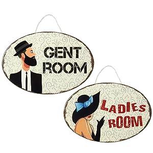 Juvale Restroom Signs - Set of 2 Ceramic Restroom Signs, Decorative Bathroom Signs Men Women, Washroom Signs, 9.1 x 5.9 x 0.2 inches