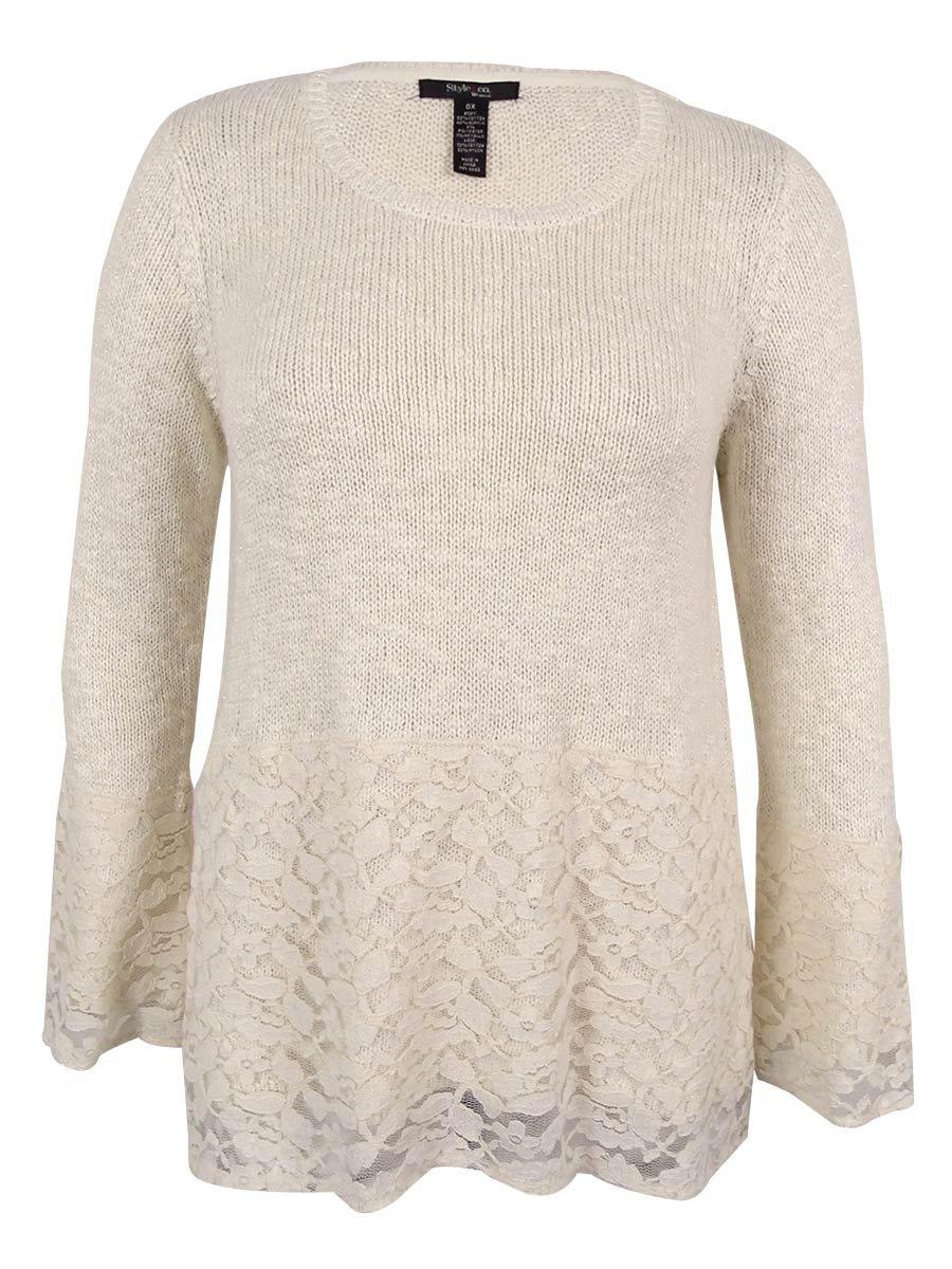 Style & Co. Women's Plus Size Bell-Sleeve Lace Metallic Sweater (Warm Ivory, 3X)