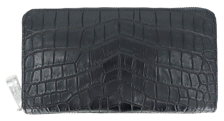 [PELLE MORBIDA ペッレモルビダ] クロコダイル ラウンドジップ 長財布 PMO-CRS010 BLACK(ブラック) B07QM3T4G7  F