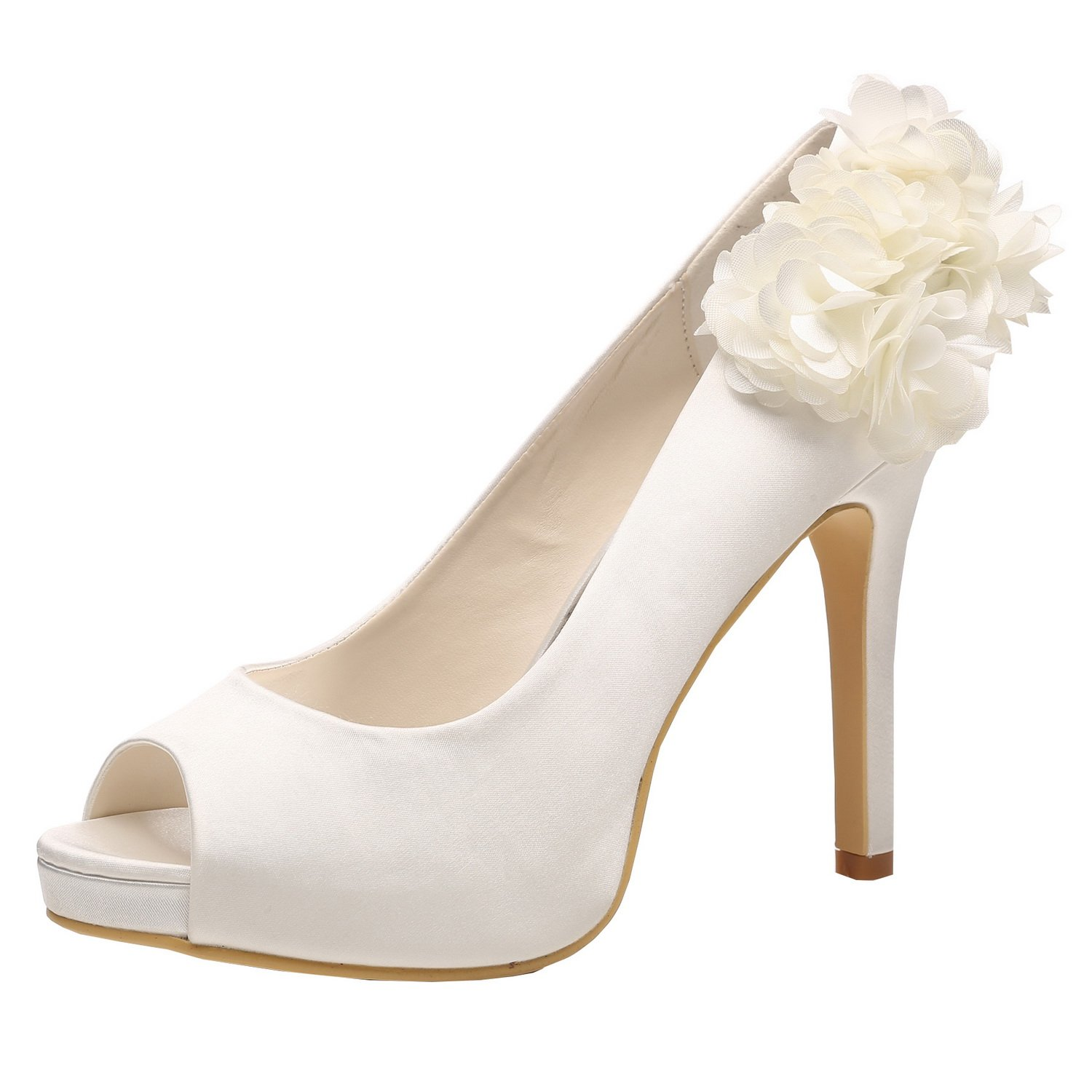 M MULGARIA Women High Heel Pumps Platform Peep Toe Flowers Satin Evening Prom Wedding Shoes B0791FFDPZ EU 40/8.5B(M)US|Ivory