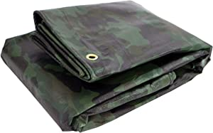 Heavy Duty Waterproof Camo Tarp - Reversible Camouflage/Green Tarp -12x20 with UV Protection for Outdoor Camping RV Truck and Trailers