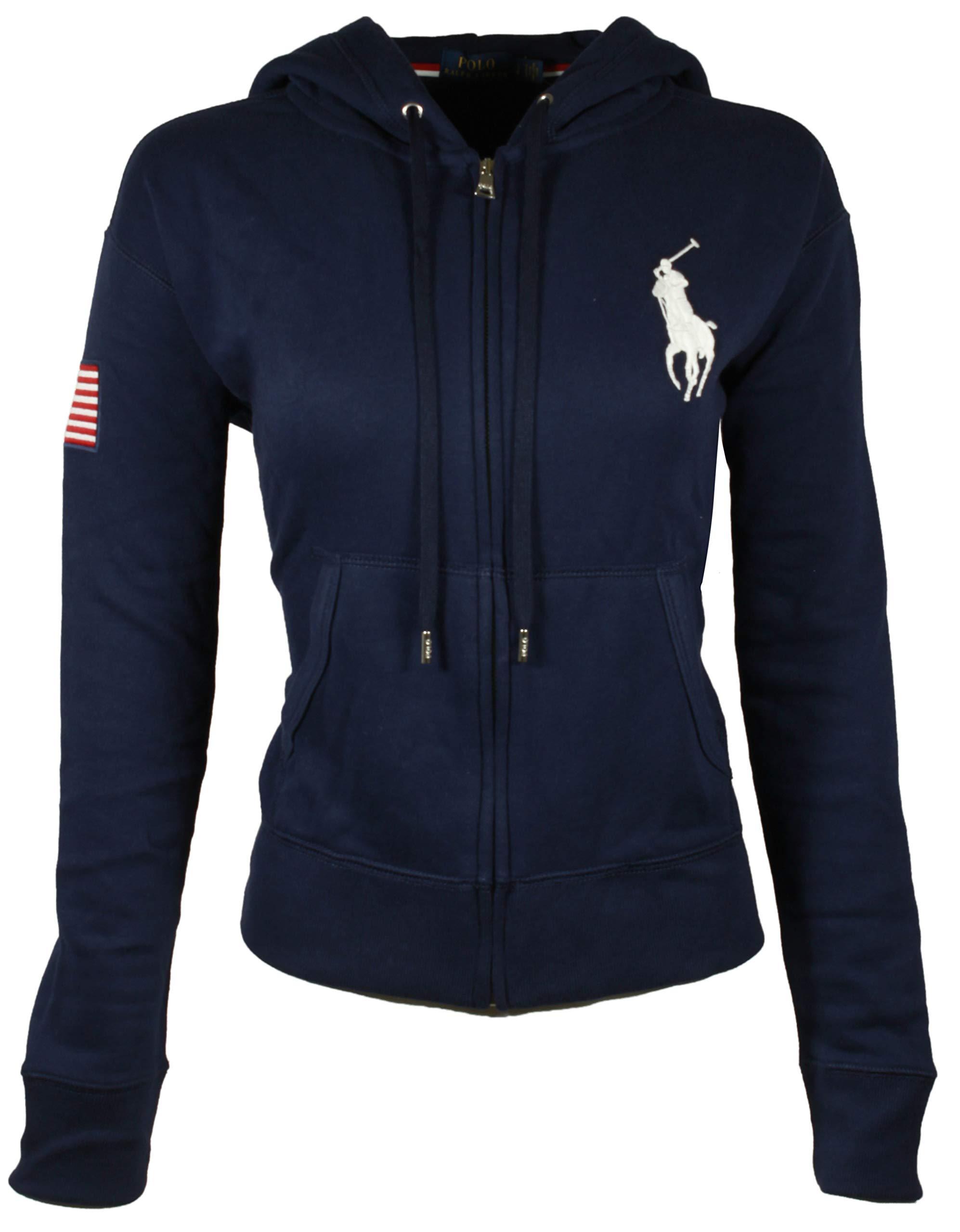 RALPH LAUREN Polo Womens Big Pony Fleece Hooded Sweatshirt (X-Small, Navy)