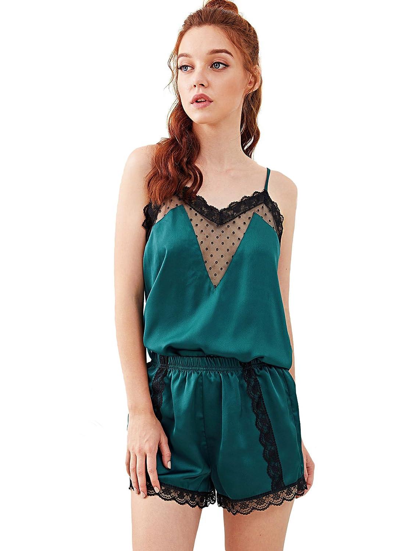 bluee DIDK Women's Lace Trim Satin Cami & Shorts Pajama Set
