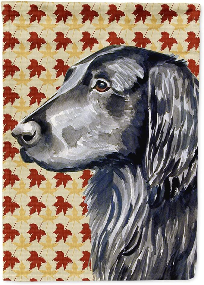 Caroline's Treasures LH9096GF Flat Coated Retriever Fall Leaves Portrait Flag Garden Size, Small, Multicolor