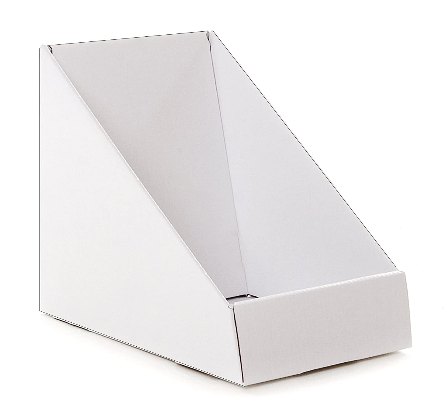 White Single Pocket Cardboard Retail Display Stand For Dvds Books