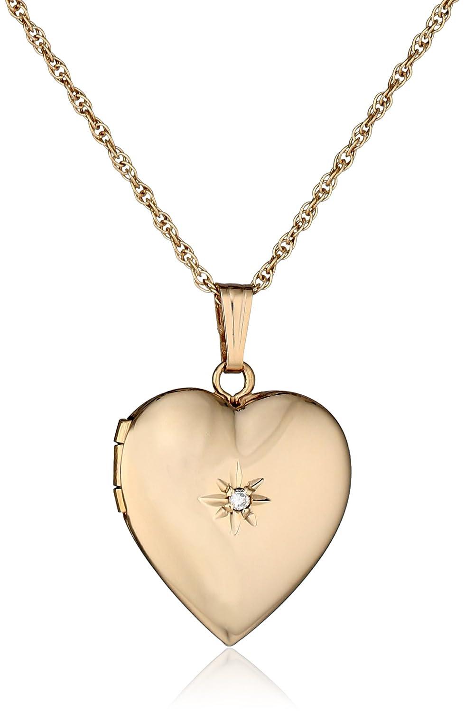 a883eb12f6 Amazon.com: 14k Yellow Gold Diamond-Accent Heart Locket Necklace, 18
