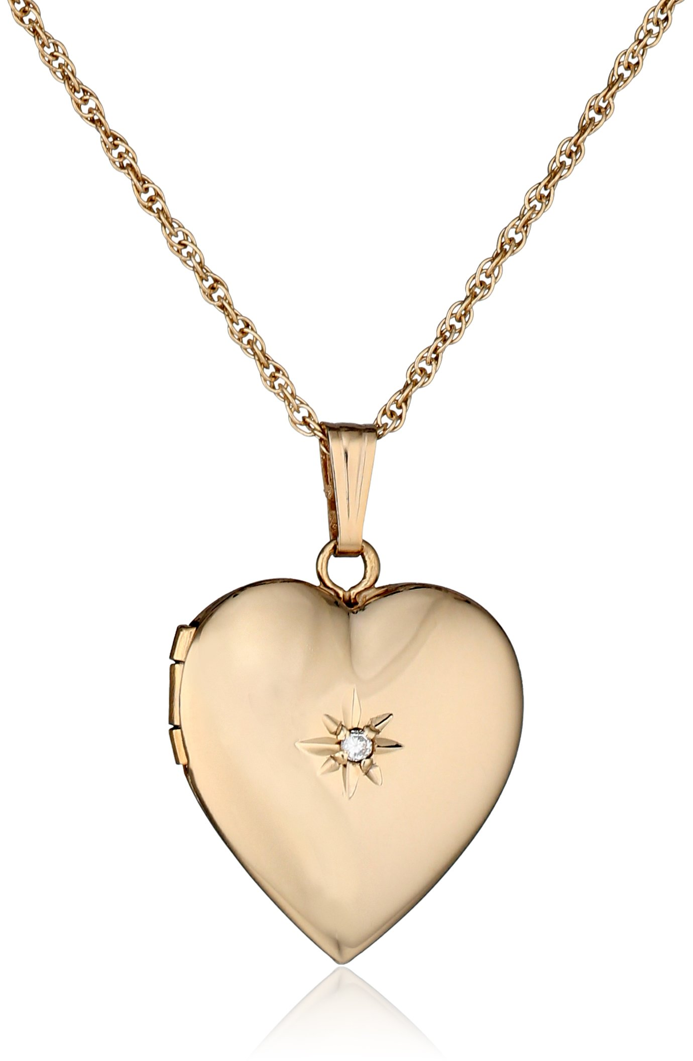 14k Yellow Gold Diamond-Accent Heart Locket Necklace, 18''