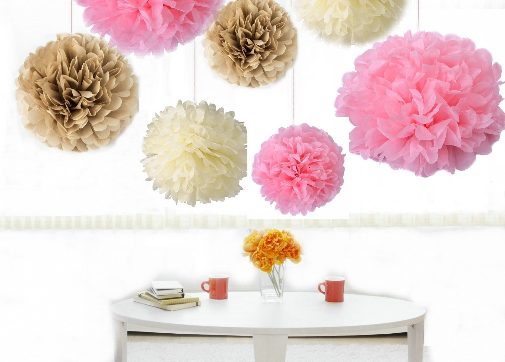 Kubert Party Tissue Paper Flowers of 8, 10, 14-Inch, 18 Pieces, Assorted Colors