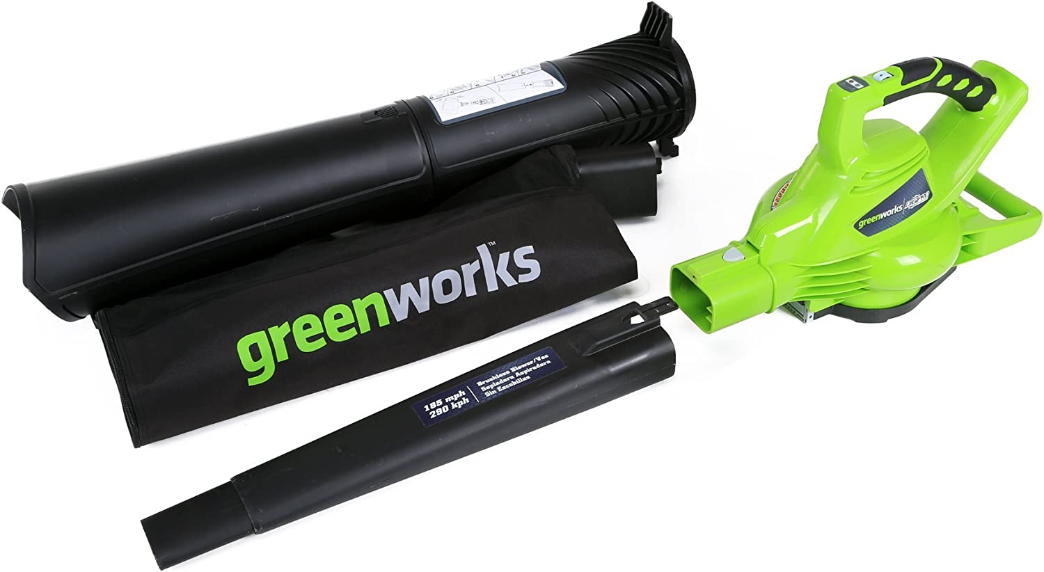 Greenworks 40V 185 MPH Variable Speed Cordless Blower Vacuum, Battery Not Included 24312 (Renewed)