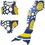 Bigface Up Girls Swimsuit Mermaid Tail 3PCS Swimwear Bikini Set Costume for Swimming