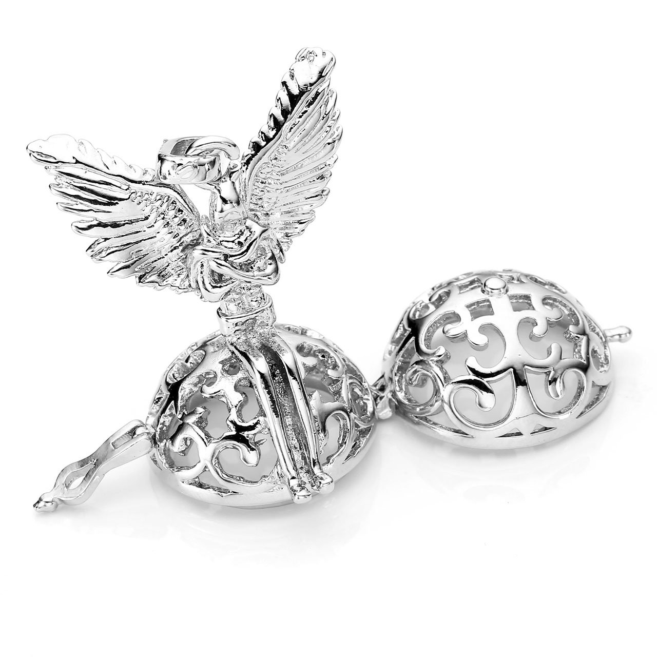 JOVIVI Engelrufer Anhänger Set,Verkündigung Engel Käfig Locket Anhänger 7x Ø 16mm Steinkugeln mit 7 Chakra Halskette