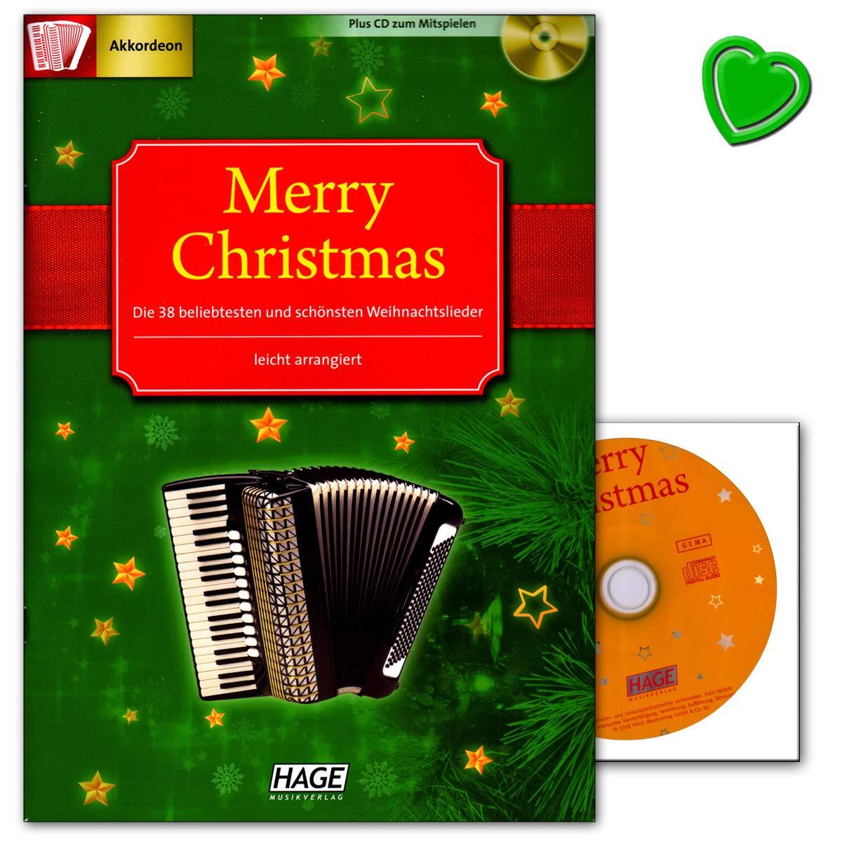 45 chansons de Noël - Légèrement arrangées spécialement pour l'accordéon - 2 CD pour jouer avec pincettes multicolores