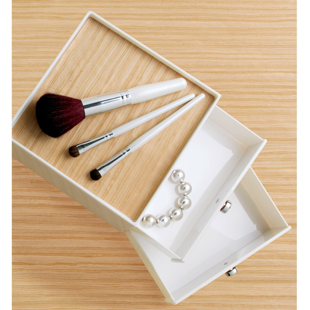 InterDesign RealWood Cosmetic Organizer for Vanity Cabinet to Hold Makeup, Beauty Products - 2 Drawers, White/Light Wood Finish by InterDesign (Image #3)