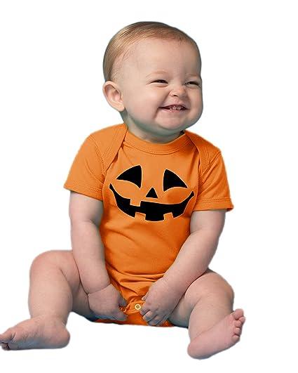 cute little pumpkin infant baby halloween jack o lantern one piece outfit